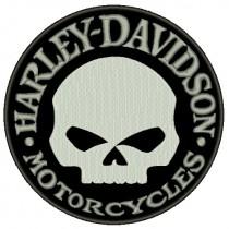 Patch Moto Harley Davidson Skull Grande Cinza