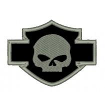 Patch Moto Harley Skull Cinza