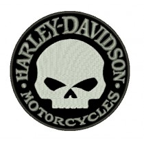 Patch Moto Harley Classic Skull Cinza